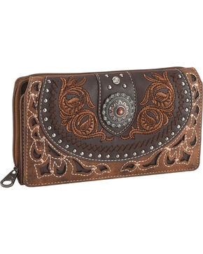 Montana West Women's Brown Embroidered Trifold Wallet , Brown, hi-res