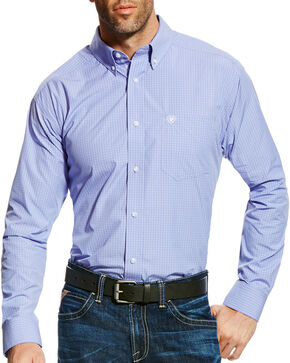 Ariat Men's Pro Series Edison Check Long Sleeve Button Down Shirt, Light Purple, hi-res