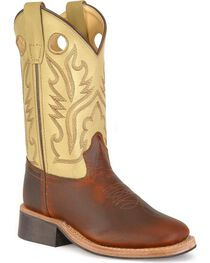 Old West Youth Corona Calfskin Cowboy Boots - Square Toe, , hi-res
