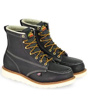 """Thorogood Men's American Heritage 6"""" Wedge Work Boots - Steel Toe, Black, hi-res"""