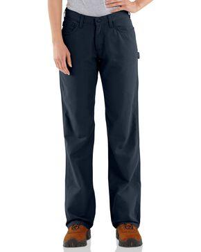 "Carhartt Flame Resistant Canvas Work Pants - 32"" Inseam, Navy, hi-res"