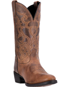 Laredo Women's Distressed Snip Toe Western Boots, Tan, hi-res