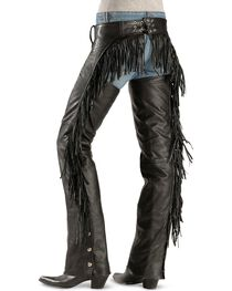 Interstate Leather Women's Leather Fringe Chaps, , hi-res