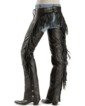 Interstate Leather Women's Leather Fringe Chaps, Black, hi-res