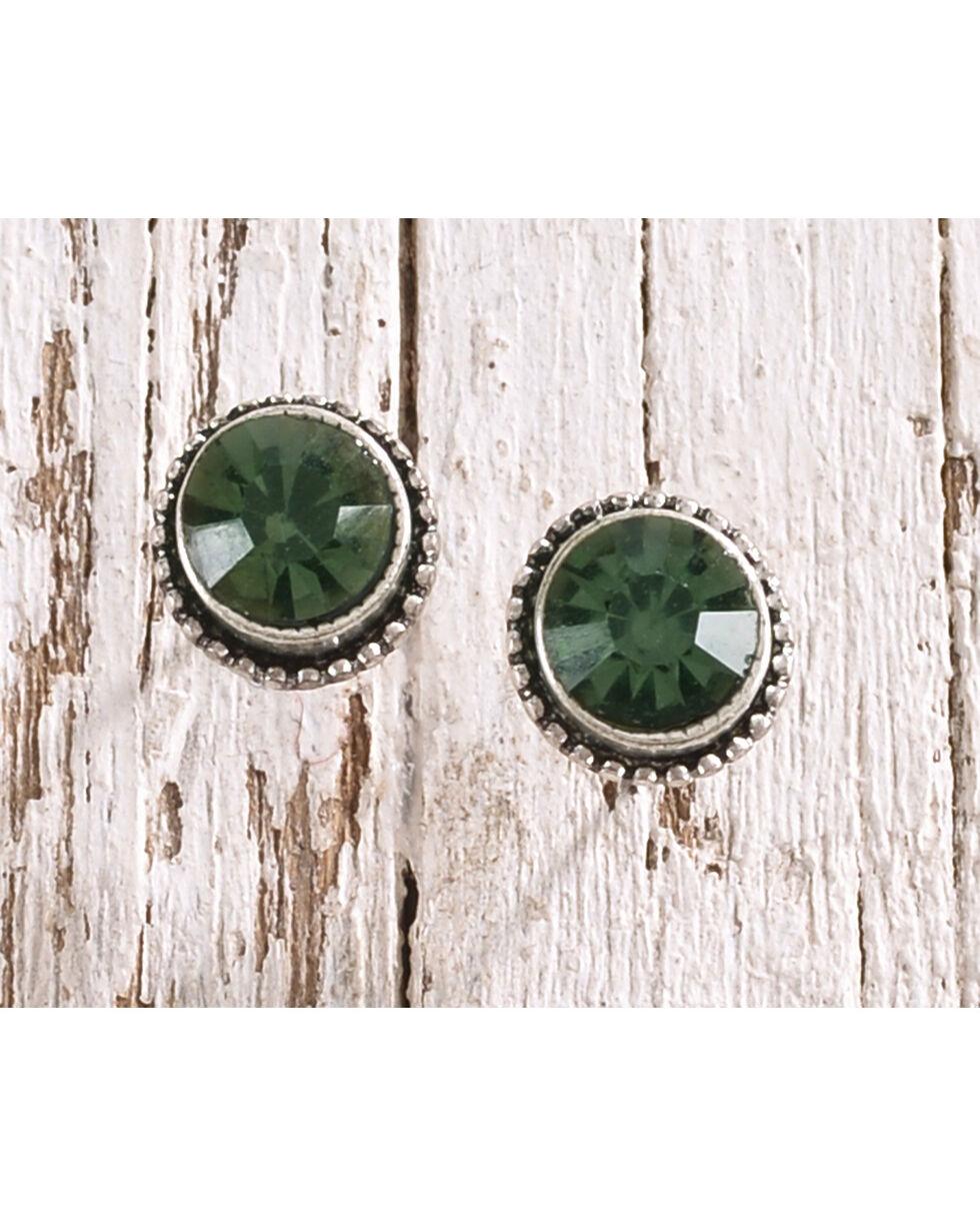 Shyanne Women's Emerald Rhinestone Simple Stud Earrings, Black, hi-res
