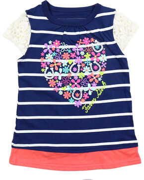 Farm Girl Toddlers' Floral Heart and Horseshoes Flutter Sleeve Tank Top, Navy, hi-res