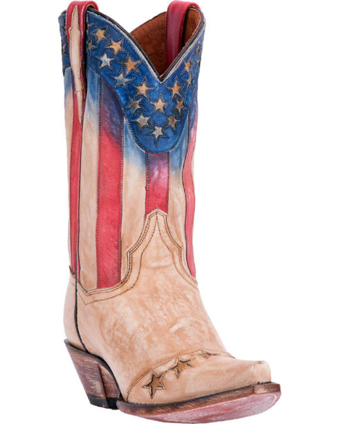 Dan Post Women's Americana Western Boots - Snip Toe, Beige/khaki, hi-res