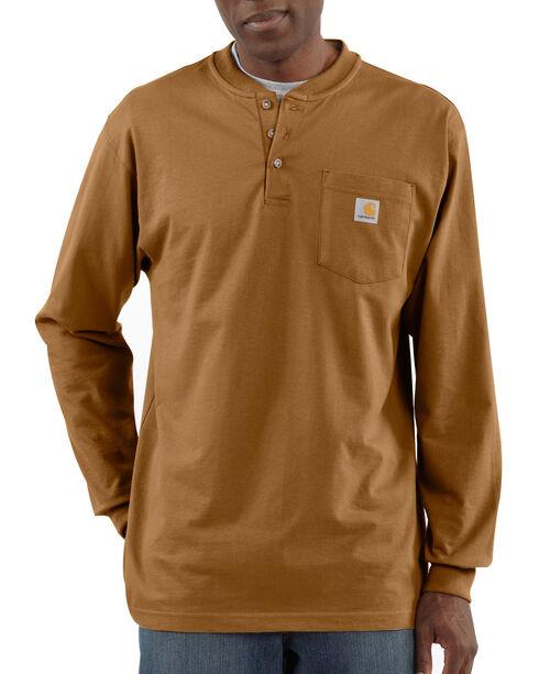 Carhartt Long Sleeve Work Henley Shirt, Brown, hi-res