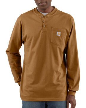 Carhartt Men's Workwear Henley Long Sleeve Shirt, Brown, hi-res