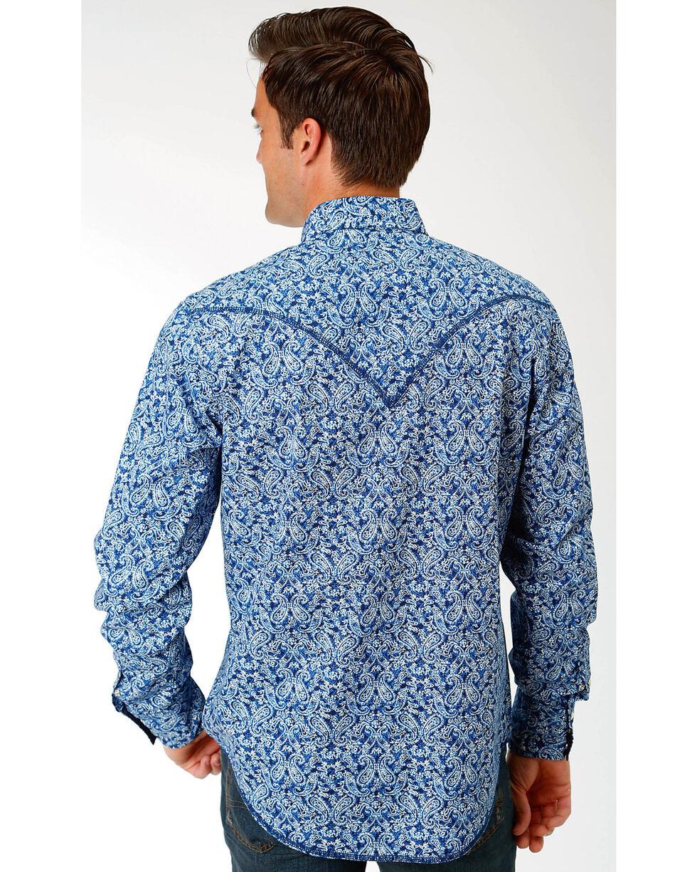 Roper Men's Blue Paisley Print Western Shirt , Blue, hi-res