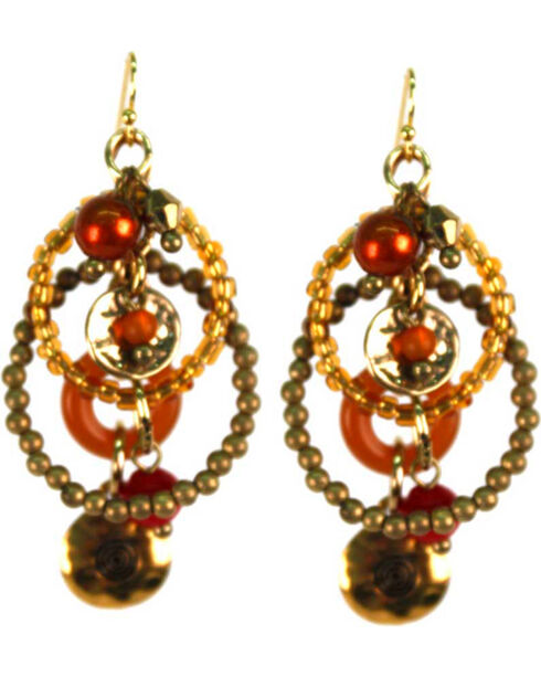 Treska Women's Saffron Sunset Multi-Beaded Drop Earrings , Red, hi-res