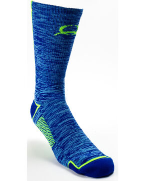 Cinch Men's Blue/Green Crew Length Boot Socks, Blue, hi-res