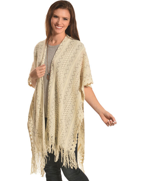 Shyanne Women's Cream Ziggy Poncho, Cream, hi-res