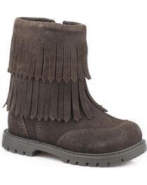 Roper Toddler Girls' Brown Fashion Fringe Moccasin Boots - Round Toe, , hi-res