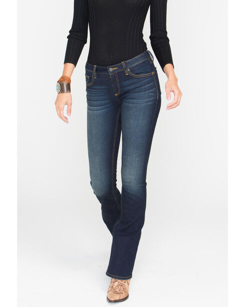 Miss Me Women's Faux Flap Pocket Jeans - Boot Cut, Dark Blue, hi-res