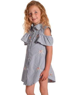 Idol Mind Girls' Striped Floral Embroidered Peek-A-Boo Dress, Blue, hi-res