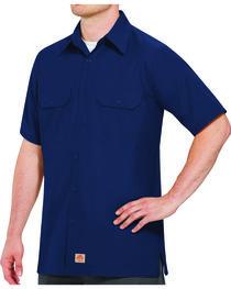 Red Kap Men's Navy Rip Stop Short Sleeve Work Shirt , , hi-res