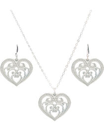 Montana Silversmiths Petite Blooming Heart Jewelry Set, , hi-res