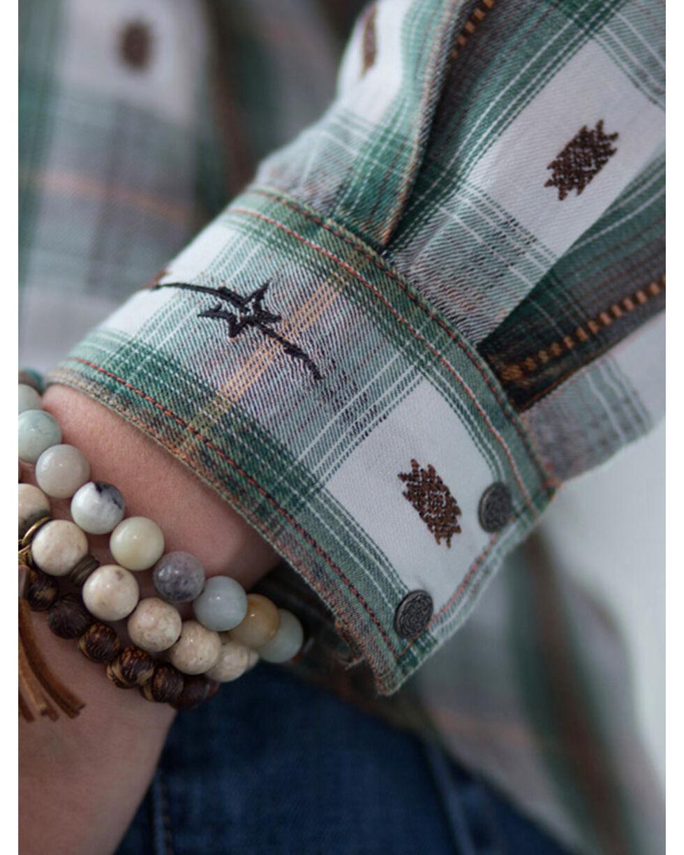 Ryan Michael Women's Ruffle Front Ombre Plaid Shirt, Evergreen, hi-res