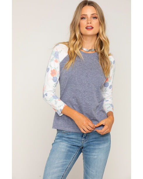 Shyanne Women's Floral Long Sleeve Baseball Tee, Heather Grey, hi-res