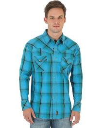 Wrangler Retro Men's Green, Blue, and Khaki Plaid Western Shirt , , hi-res
