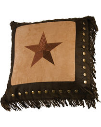HiEnd Accents Embroidered Star with Metal Studs & Fringe Pillow, , hi-res