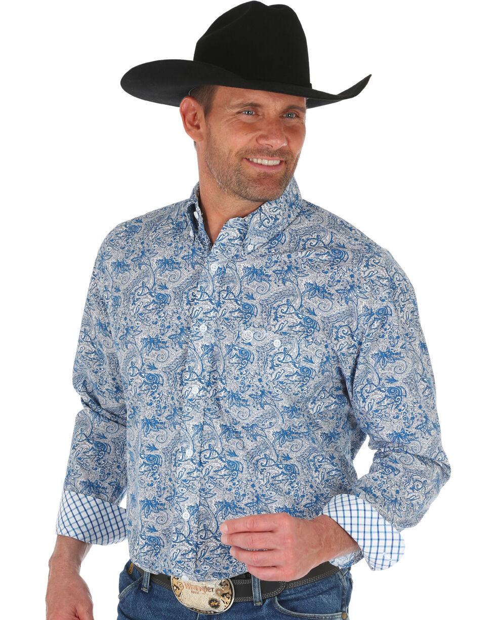 Wrangler George Strait Men's Blue Floral Print Shirt - Big, Dark Blue, hi-res