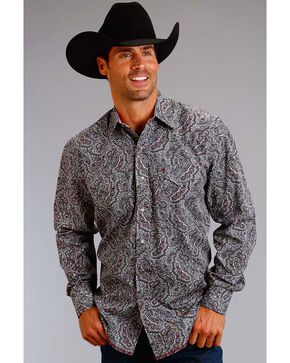 Stetson Men's Paisley Long Sleeve Shirt, Grey, hi-res