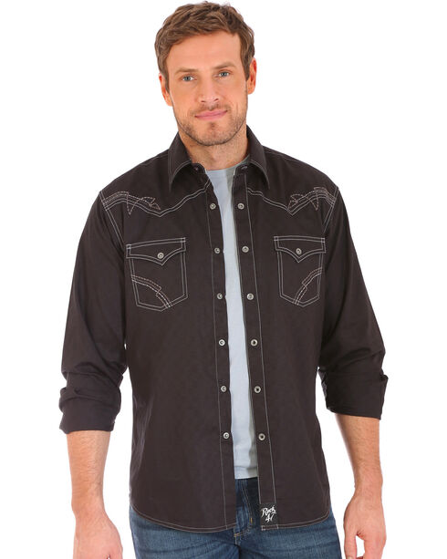 Wrangler Rock 47 Men's Black Embroidered Stitch Long Sleeve Snap Shirt, Black, hi-res