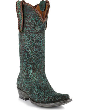"Old Gringo Women's Cassidy 13"" Western Fashion Boots, Turquoise, hi-res"
