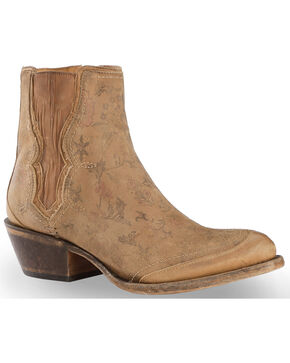 Lucchese Women's Natural Gia Chelsea Short Boots - Round Toe , Natural, hi-res