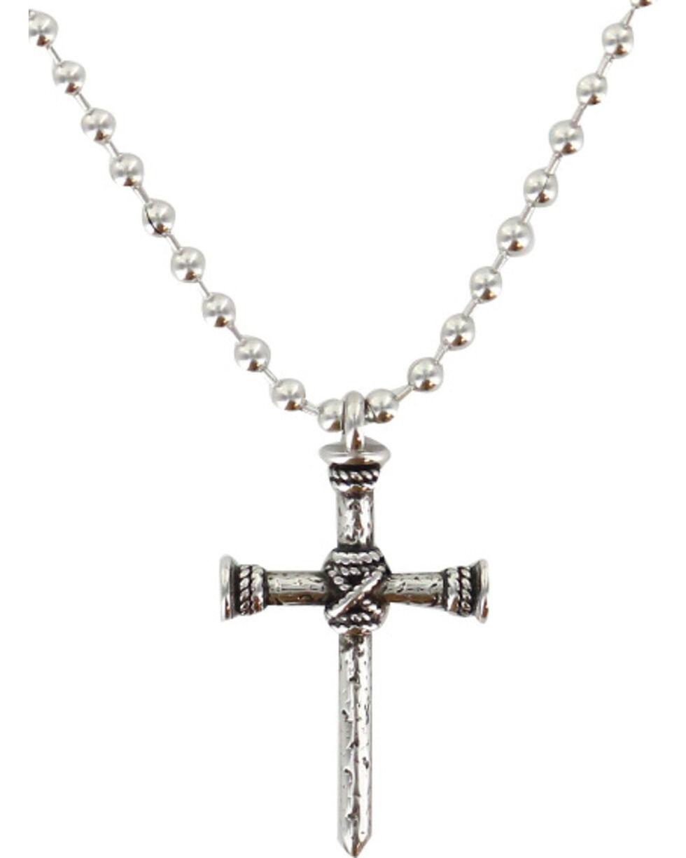 Moonshine Spirit® Men's Roped Nail Cross Necklace, Silver, hi-res