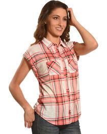 Derek Heart Women's 2 Pocket Plaid Short Sleeve Shirt - Plus Size, , hi-res