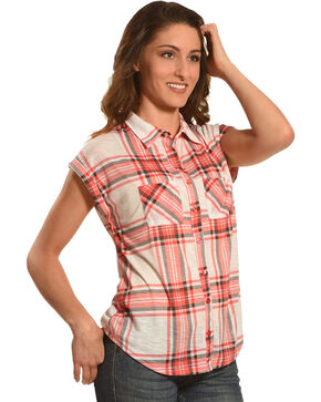 Derek Heart Women's 2 Pocket Plaid Short Sleeve Shirt - Plus Size, Pink, hi-res