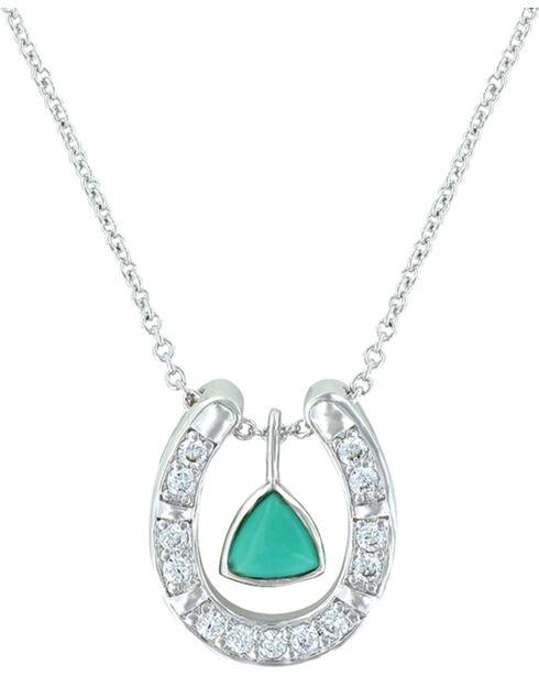 Montana Silversmiths Women's Turquoise Trillion Horseshoe Necklace , Turquoise, hi-res