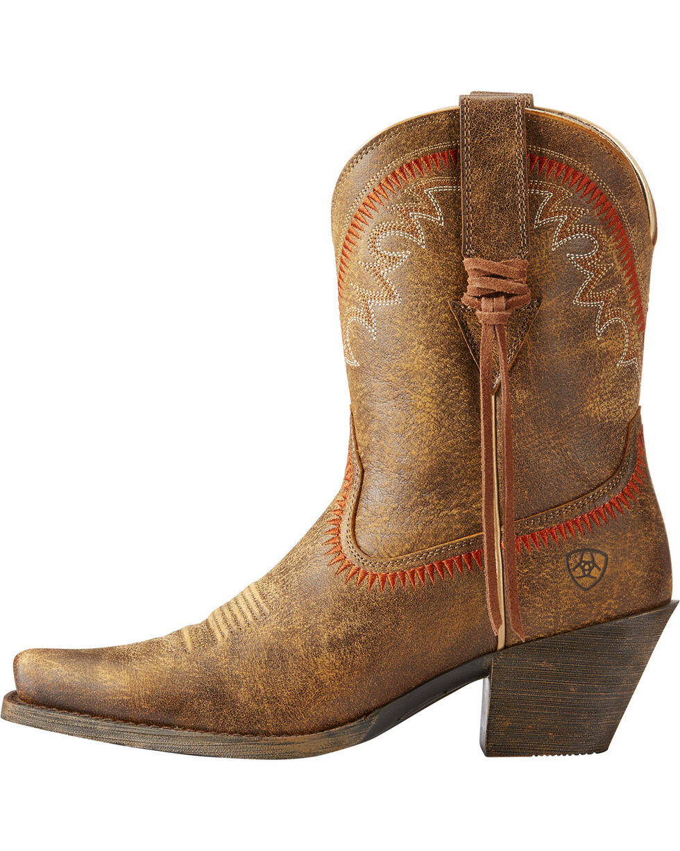 Ariat Women's Brown Round Up Aztec Bomber Boots - Snip Toe , Brown, hi-res