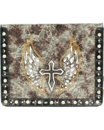 Distressed & Embroidered Cross & Wing iPad Case, , hi-res