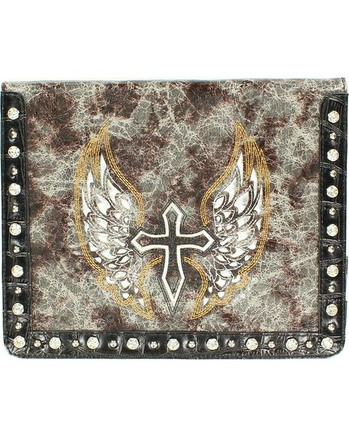 Distressed & Embroidered Cross & Wing iPad Case, Black, hi-res
