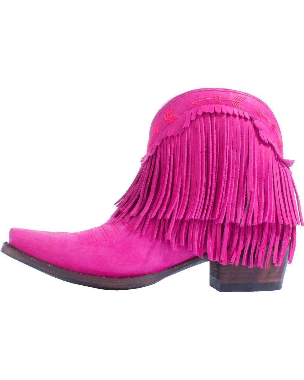 Lane Women's Spitfire Fringe Western Booties, Pink, hi-res