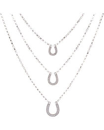 Montana Silversmiths Women's Three Tiered Horseshoe Necklace, , hi-res