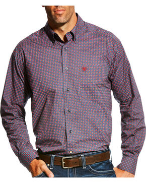 Ariat Men's Anniston Print Long Sleeve Button Down Shirt - Tall, Blue, hi-res