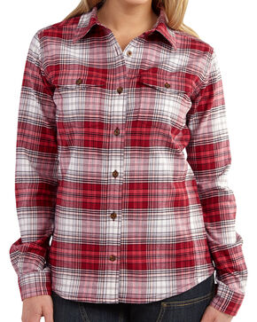Carhartt Women's Plaid Button Down Flannel, Rose, hi-res