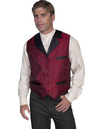Rangewear by Scully Men's Paisley Print Solid Lapel Vest, Red, hi-res