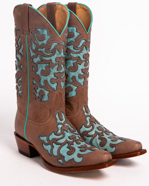 Shyanne® Women's Ornate Overlay Western Boots, Brown, hi-res