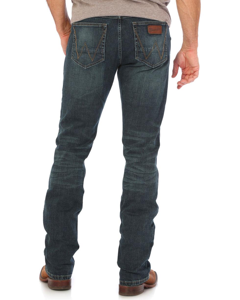 Wrangler Men's Indigo Retro Stretch Denim Slim Fit Simple Jeans - Boot Cut , , hi-res