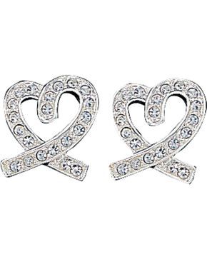 Montana Silversmiths Rhinestone Heart Earrings, Silver, hi-res
