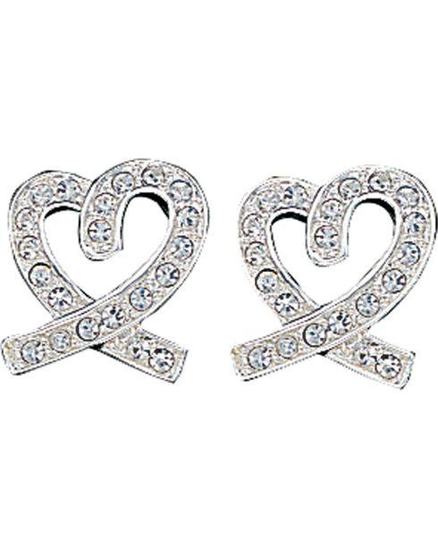 Montana Silversmiths Rhinestone Heart Earrings, Silver, hi-res