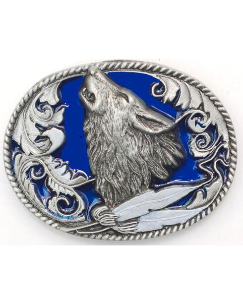 Western Express Men's Silver Howling Wolf Head Belt Buckle , Silver, hi-res