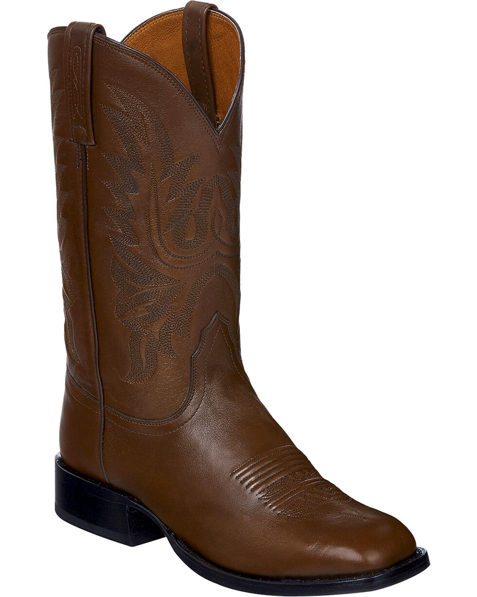 Lucchese Handmade Brown Jason Lone Star Calf Cowboy Boots - Square Toe , Brown, hi-res