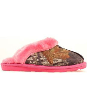 Women's Camouflage & Pink Fleece Slippers, Camouflage, hi-res